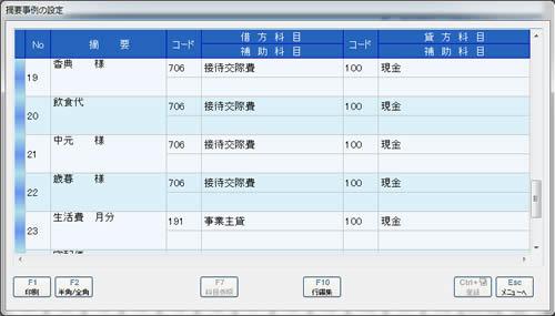 補助機能 摘要事例の設定 画面